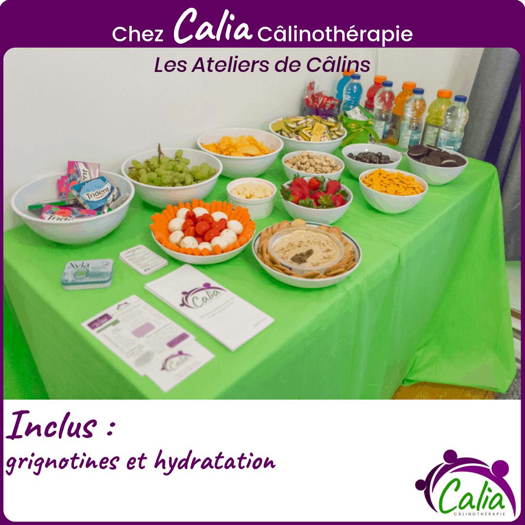 Chez Calia Calinotherapie. Inclus: grignotines et hydratation