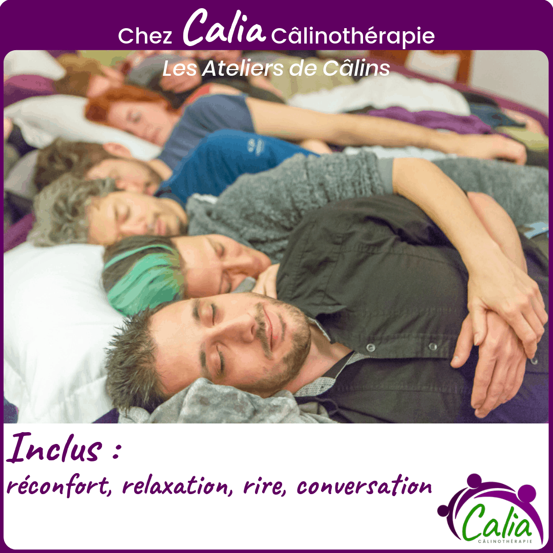 Chez Calia Calinotherapie. Inclus: réconfort, relaxation, rire, conversation.
