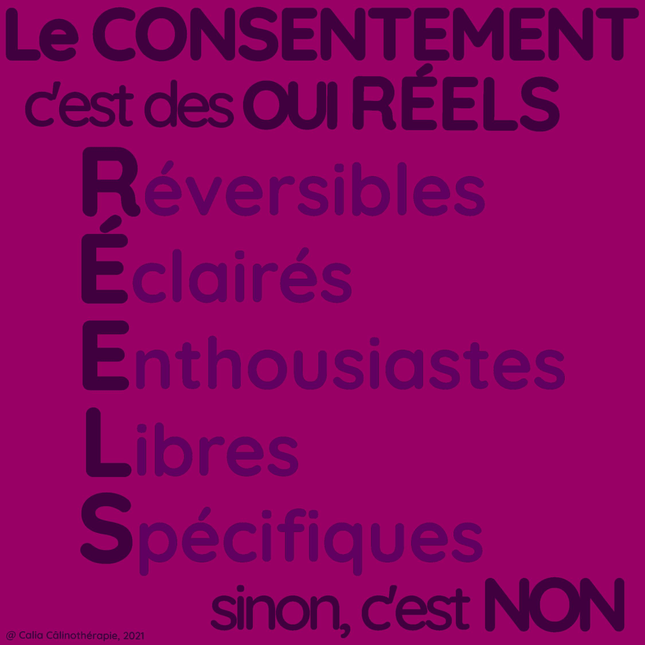 Le consentement c'est des OUI RÉELS (Réversibles, Éclairés, Enthousiates, Libres, Spécifiques) sinon, c'est NON